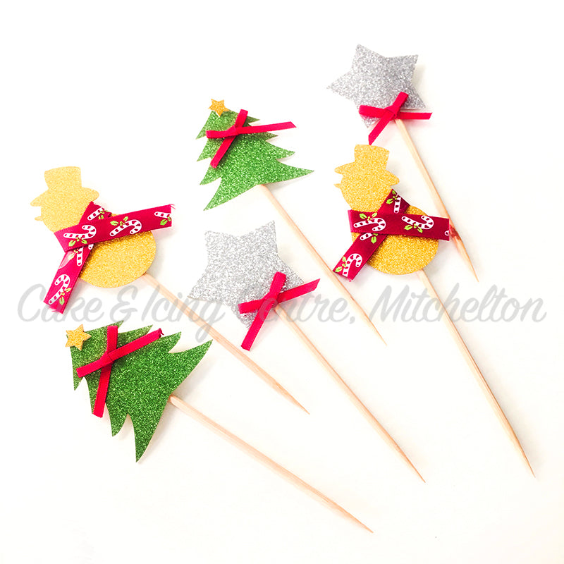 Christmas Cake Topper Set of 6