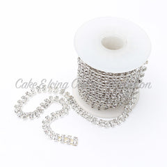 Diamante Chain Ribbon - Silver chain with dual diamonds