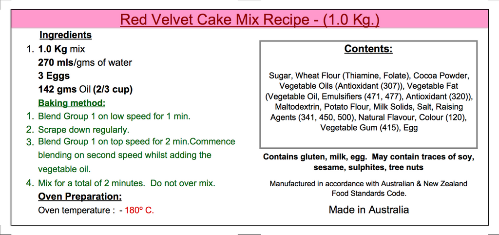 Red Velvet Cake Mix - 1Kg