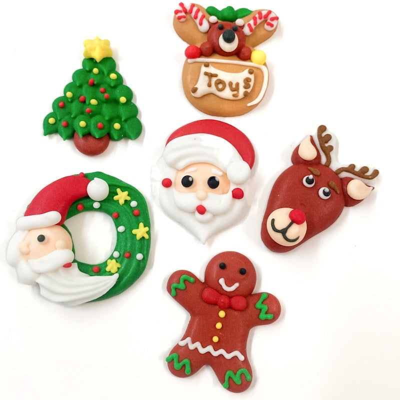 Christmas Sugar Toppers - Assorted Pack of 6