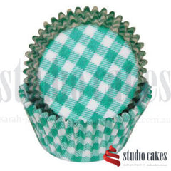 Cupcake Wrappers - Designer Gingham GREEN Paper