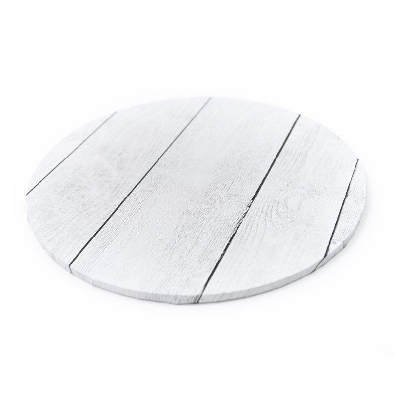 Designer Cake Boards - White Wood Planks