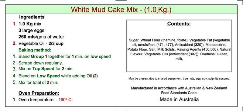 White Mud Cake Mix - 1kg