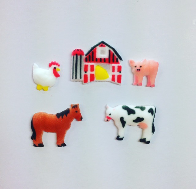 Pressed Sugar Toppers - Barn yard animals