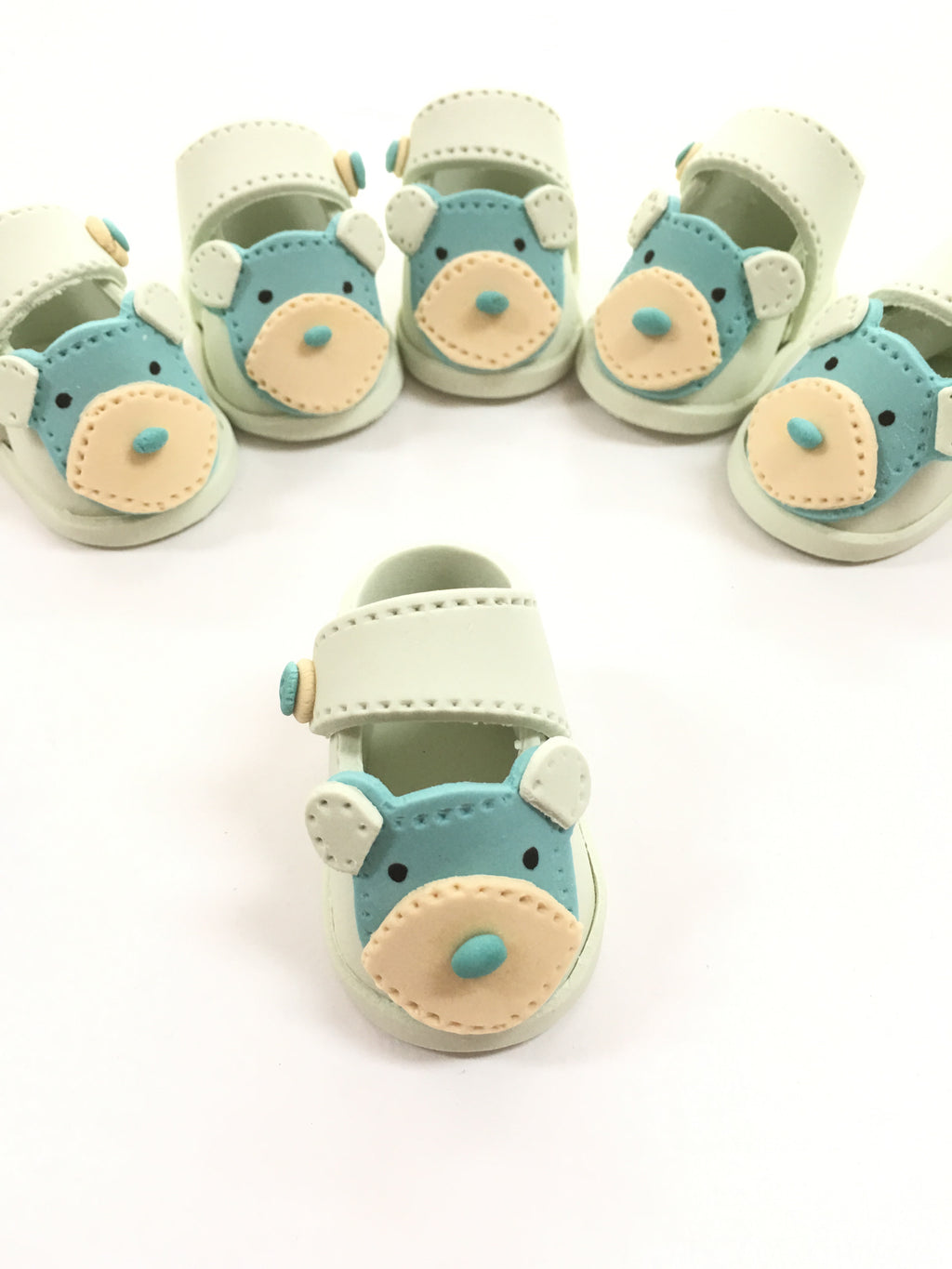 Hand made Baby bear booties - Blue
