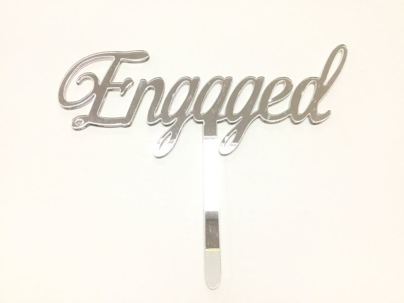 Cake Topper - Engaged (Acrylic mirror scroll)