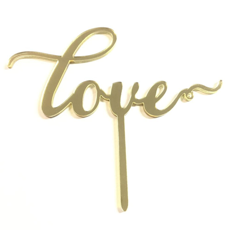 "Cake Topper - ""Love"" Mirror Gold Script"