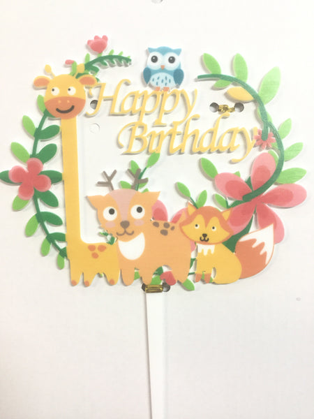 Cake Toppers - Happy Birthday Zoo animals