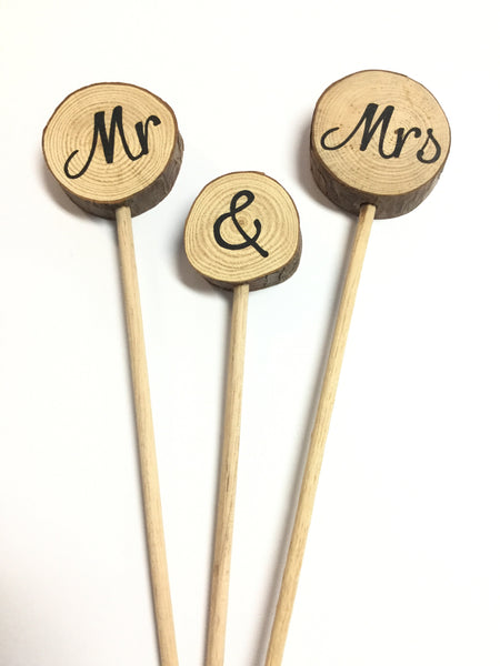Cake Toppers - Mr & Mrs (round wood slices on dowel)