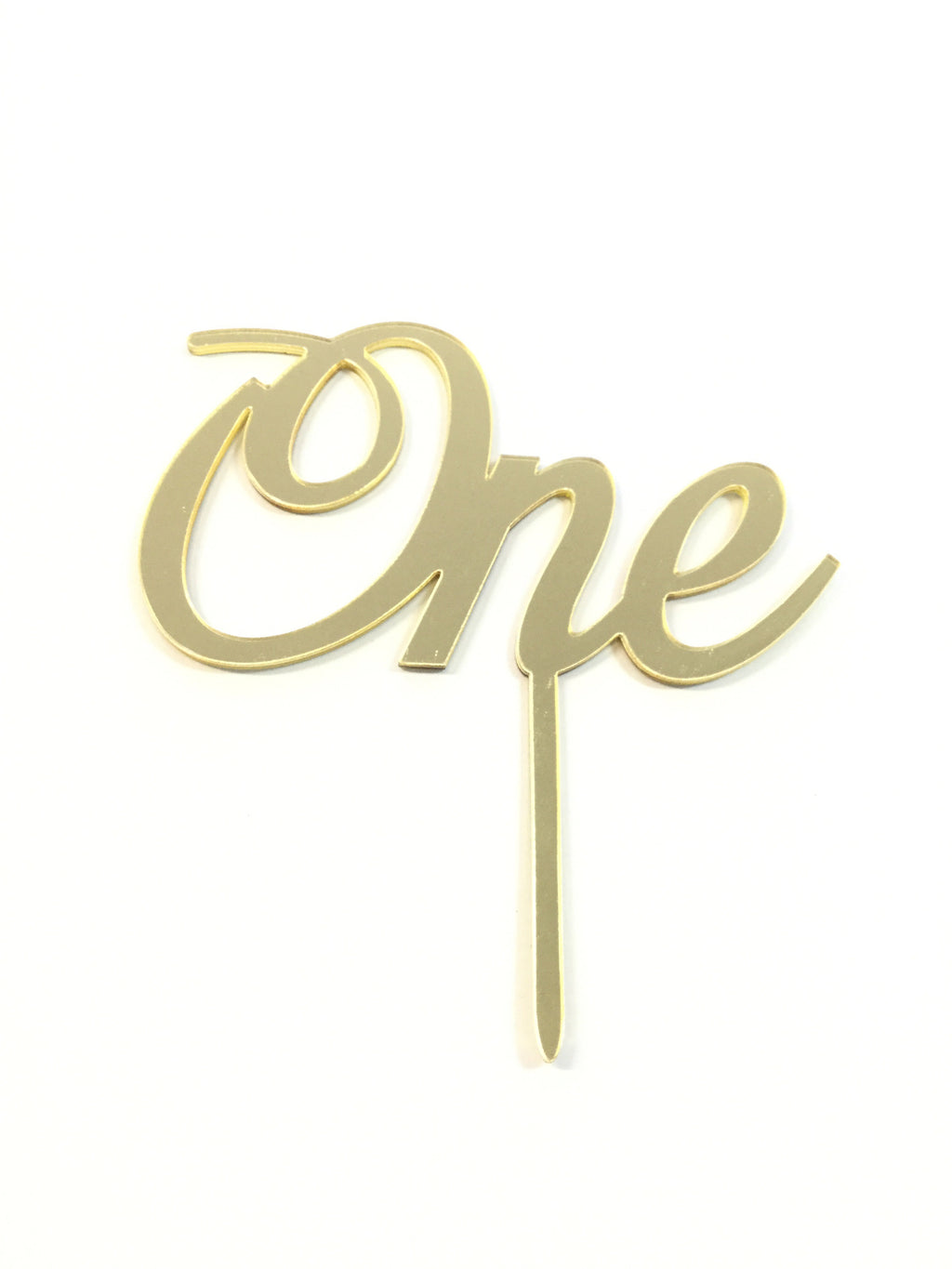 "Cake Topper - ""One"" Mirror Gold Script"