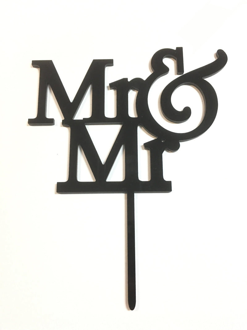 Cake Topper - Mr & Mr  Acrylic Gloss black