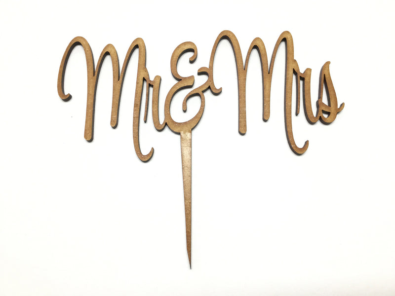 Cake Topper Wooden - Mr & Mrs (slender) script