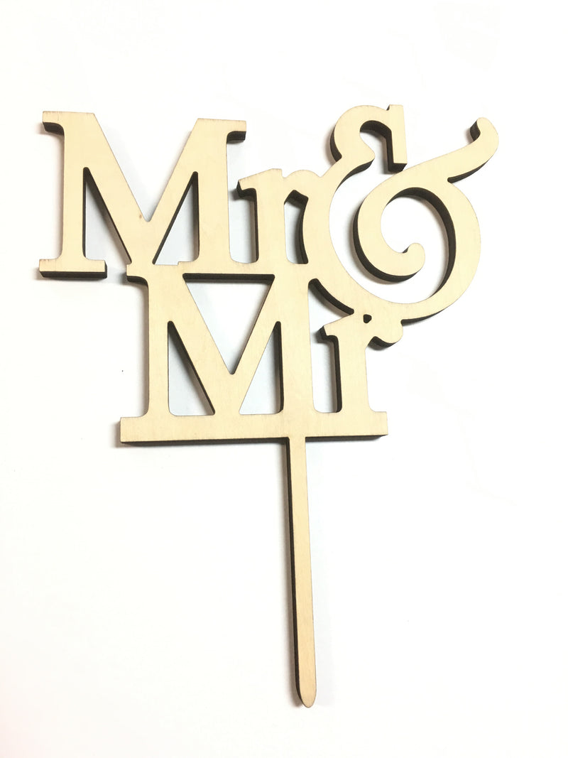 Cake Topper - Mr & Mr  Birchwood