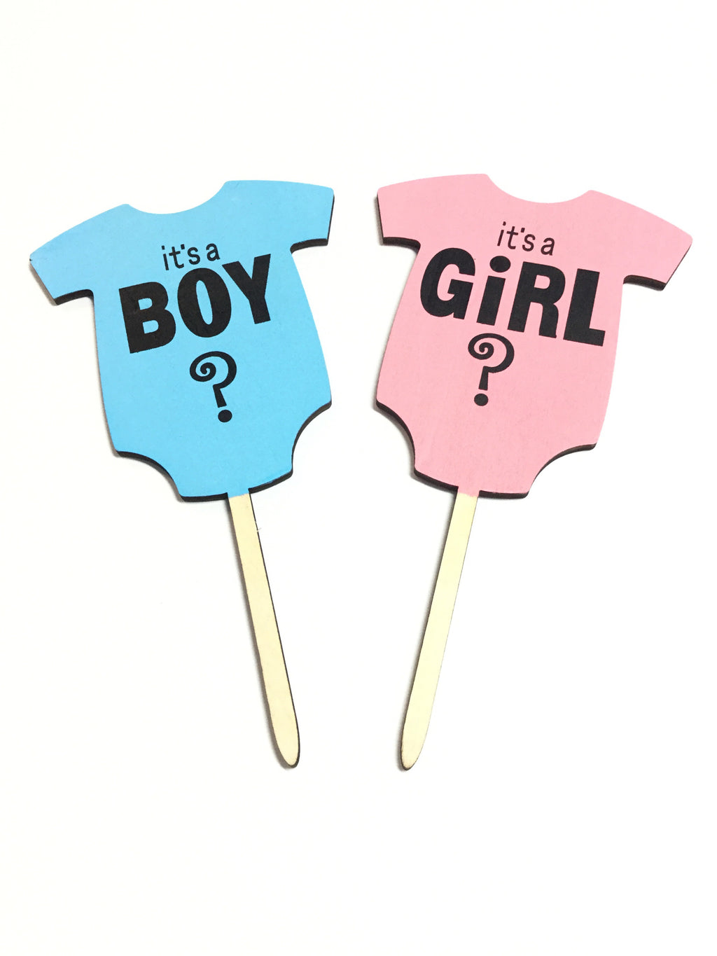 Cake topper - Gender reveal (Set of two, Blue & Pink)