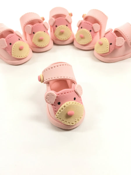 Hand made baby bear booties - Pink
