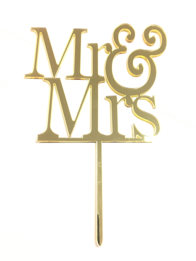 Cake Topper - Mr & Mrs Acrylic gold mirror