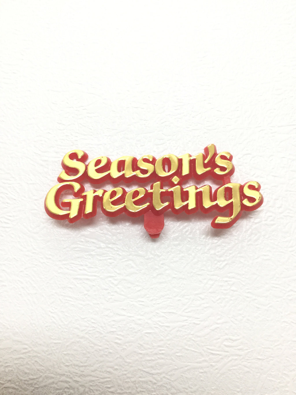 Christmas Cake Topper - Red & Gold Seasons Greetings