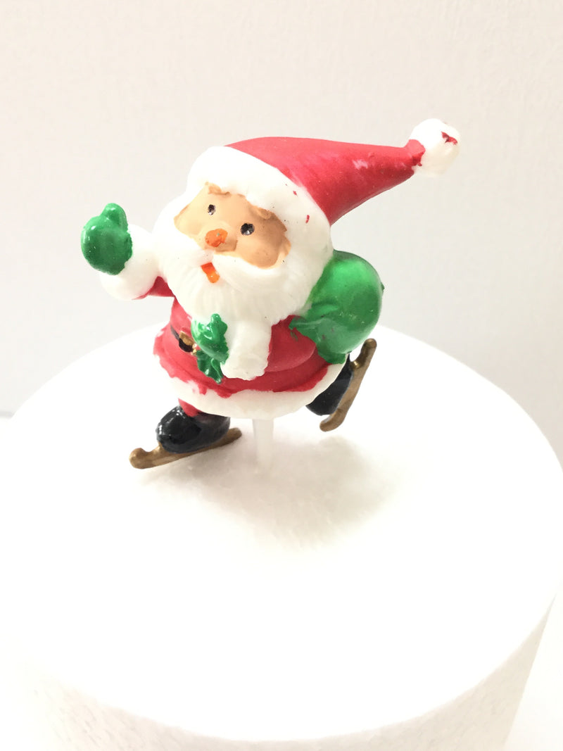 Christmas Cake topper - Ice skating Santa