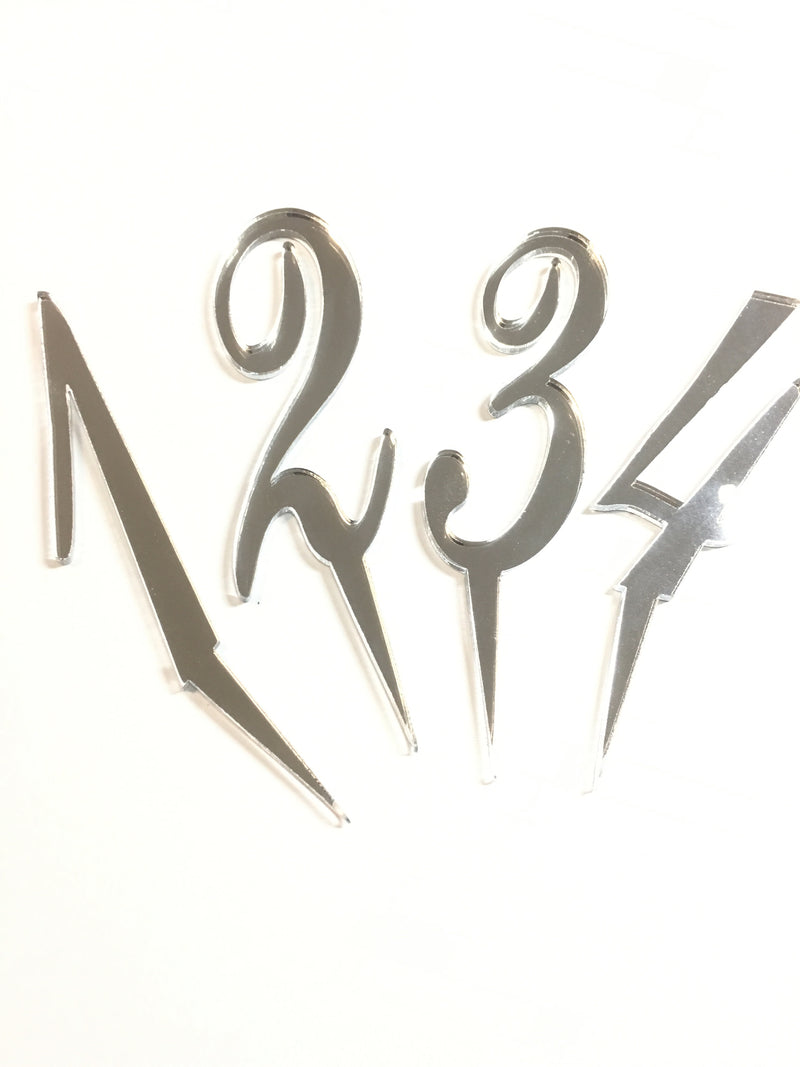 Number Cake Topper - Silver Mirror Acrylic