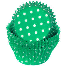 Cupcake Wrappers - Designer Polka Dots Paper GREEN