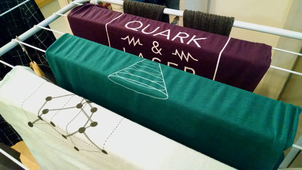 Quark & Laser t-shirts air-drying