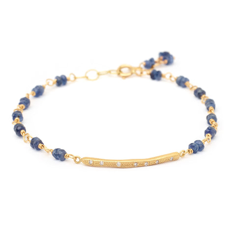Bamboo Tied Blue Sapphire Bracelet With Diamonds