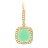 Green Cushion Chrysoprase Diamond Earrings