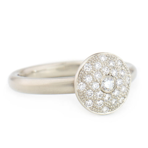 Gold Pave Disc Ring