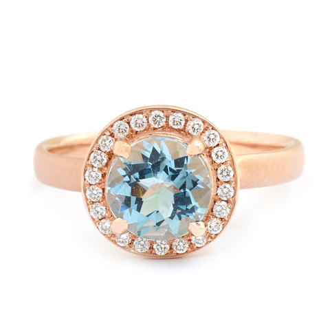 Sky Blue Aquamarine Rose Gold Ring