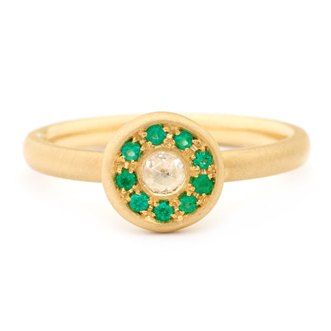 Fresh Rosecut Diamond Emerald Ring