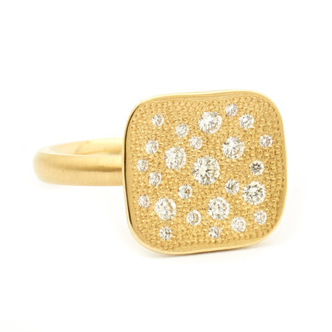 Stardust Organic Square Top Pave Set Ring