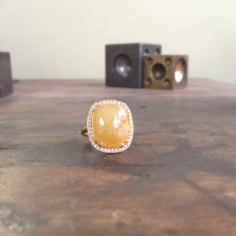 One of a Kind Yellow-Orange Sapphire Ring