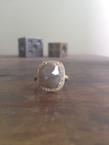 Milky Grey Cushion Rosecut Diamond Ring
