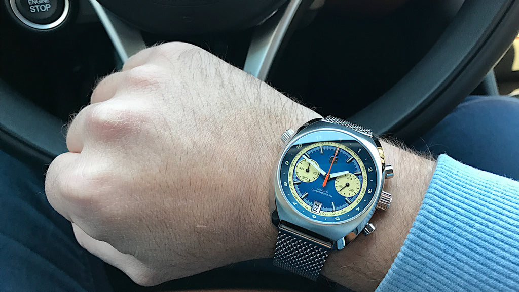 Wrist shot of the Straton Curve automotive watch