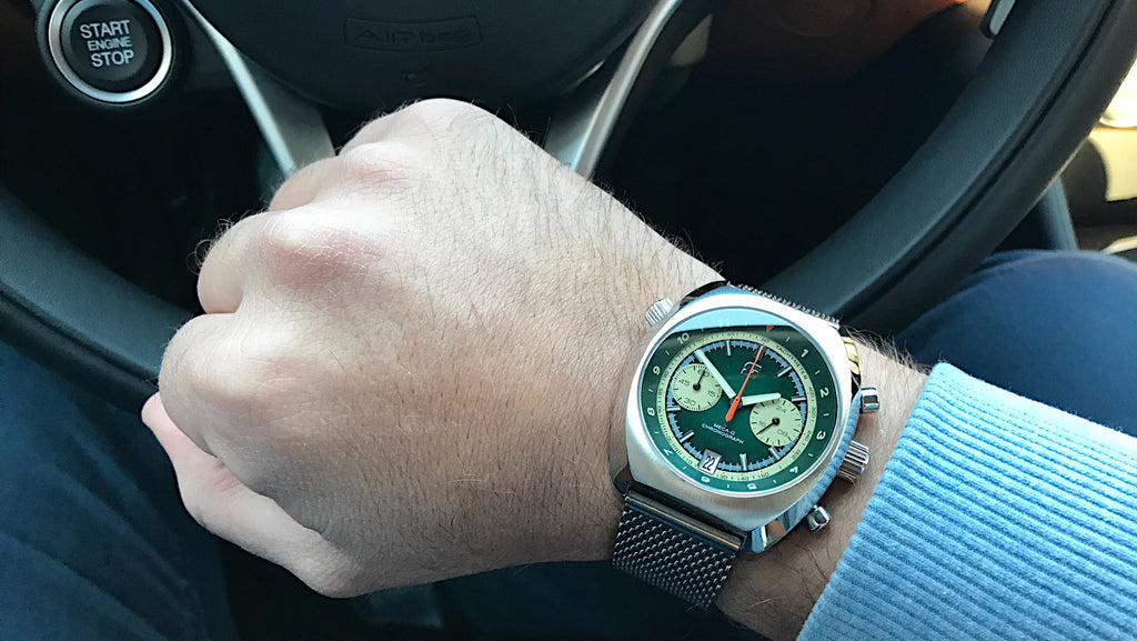 Wrist shot of the Straton Curve driving watch