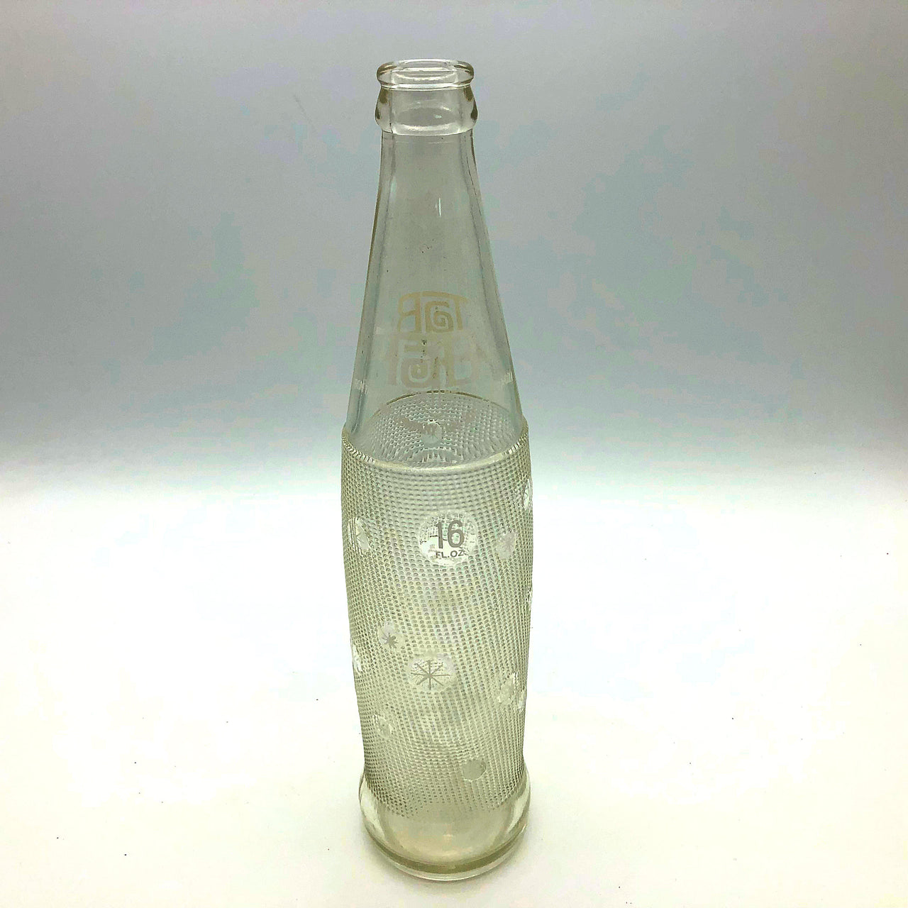 Tab Diet Soda 16 oz Clear Glass Bottle Coca-Cola White Starburst Design