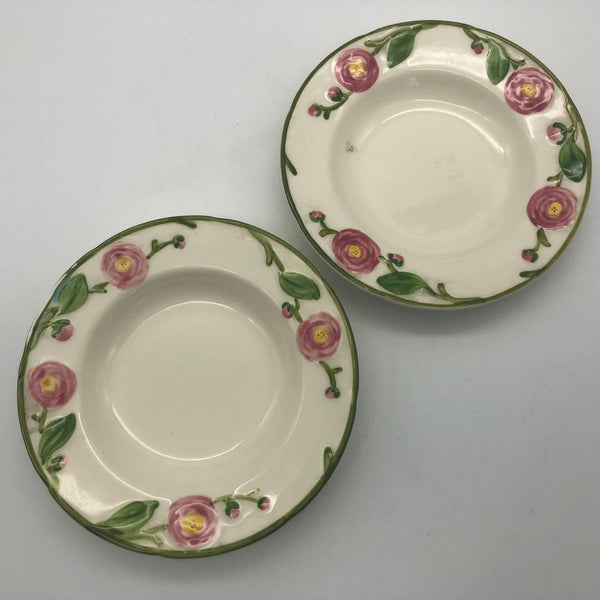 2 Metlox Camellia Fruit Sauce Dishes Bowls Flowers with Green Trim 6-1/4""