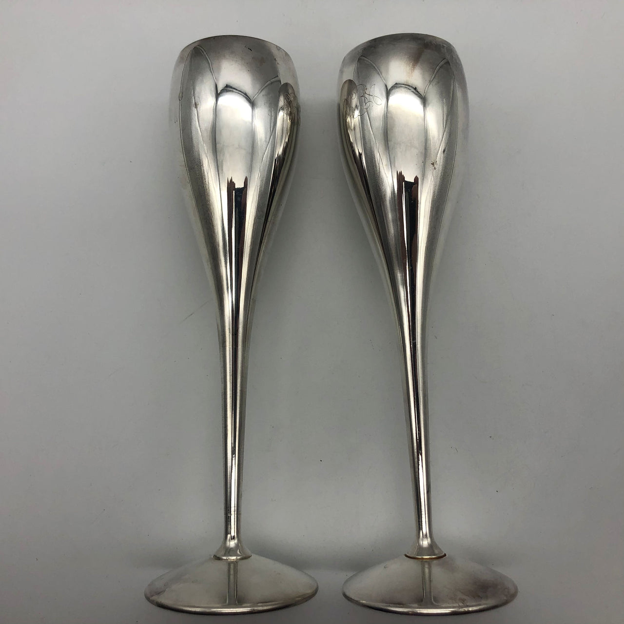Pair of Kirk Stieff Silverplate Spain Champagne Toasting Flutes Cups Engraved