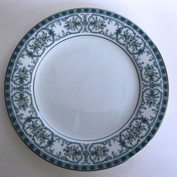 Vintage Noritake Burlington 2081 Salad Plate Blue Feather Scroll Silver Trim