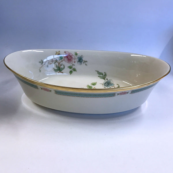 Vintage Lenox Morning Blossom Oval Serving Bowl Pink Blue Flowers