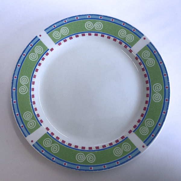 Vintage Gibson Regina Dinner Plate Swirls Green Blue Red