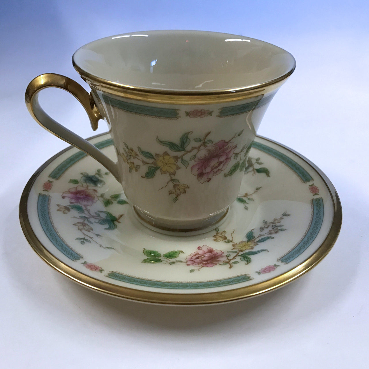 Vintage Lenox Morning Blossom Cup and Saucer Pink Blue Flowers