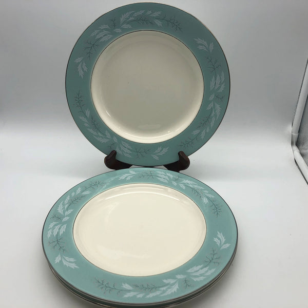 3 Homer Laughlin Eggshell Cavalier Romance Dinner Plates Turquoise Leaves