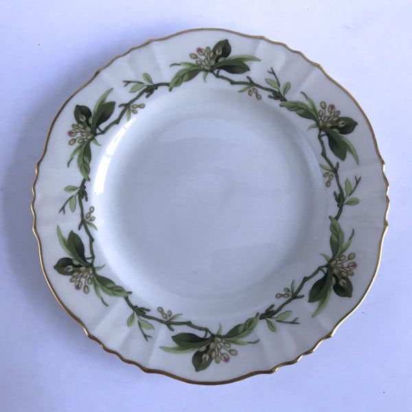 Syracuse Westvale Bread Plate Green Leaves Branches Pink Buds Gold Trim 6-1/2""