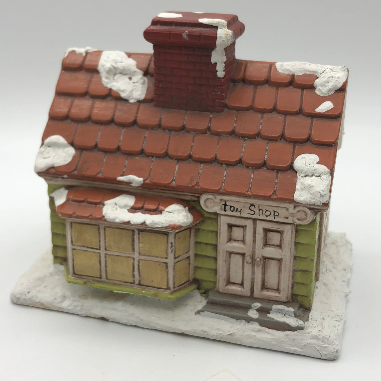 Byron Molds Vintage Green Toy Shop House Chimney with Snow 1979 AS IS