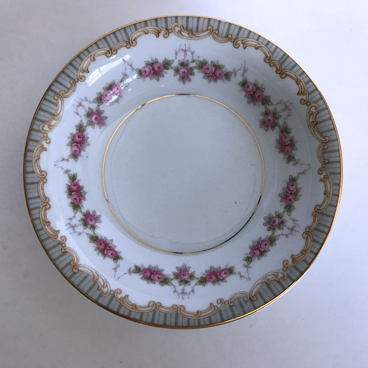 Vintage Noritake Ridgewood 5201 Berry Sauce Bowl Pink Flower Tan Gray Gold Trim