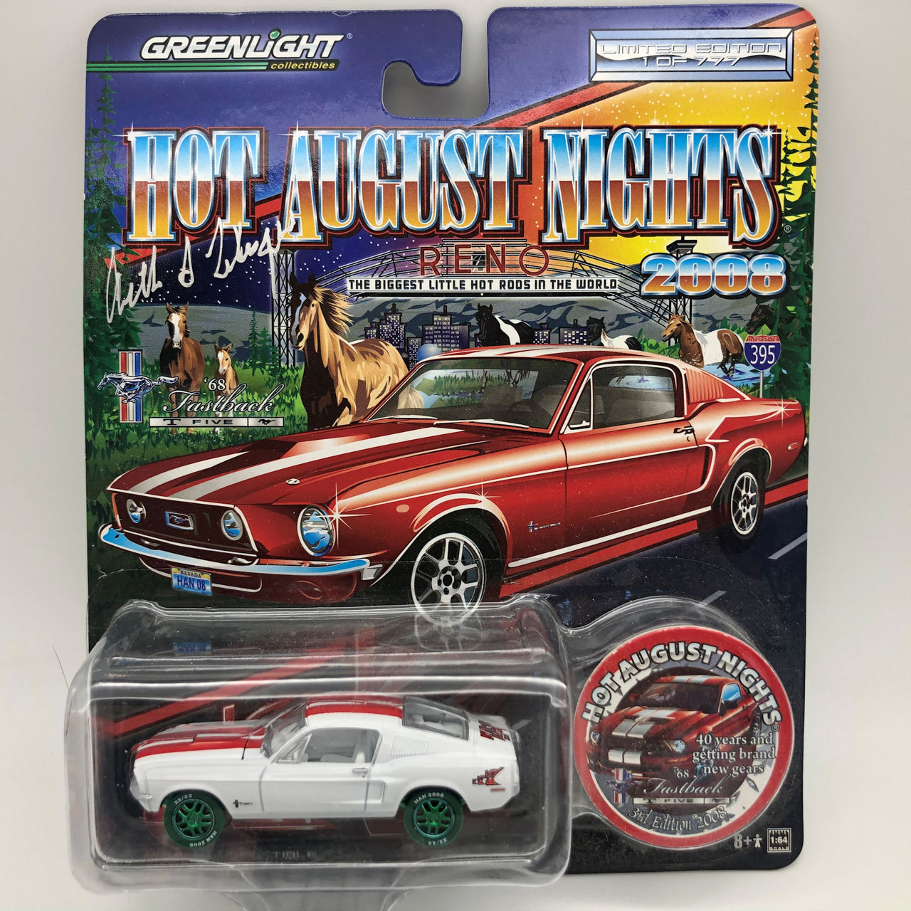 Greenlight 2008 HAN Reno 1968 Mustang Fastback Five Die Cast Car Signed