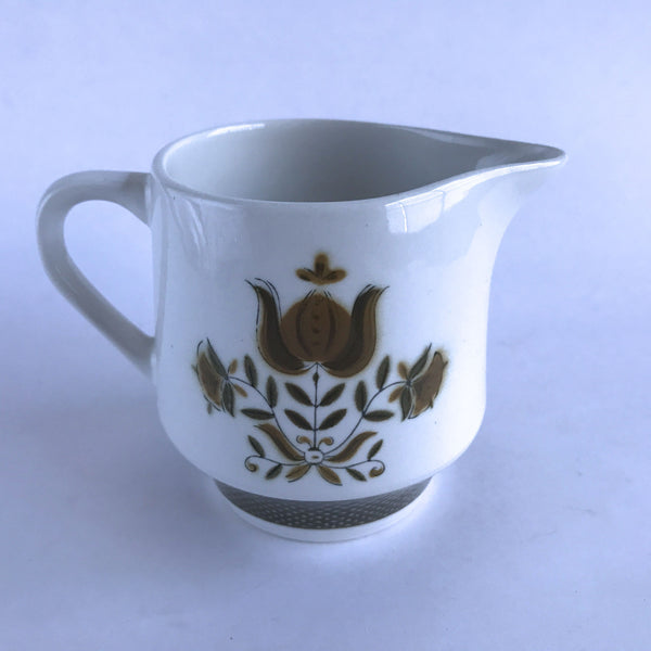 Sears China Dunmore 4241 Creamer Cream Pitcher Ironstone Brown Flowers 3-1/2""