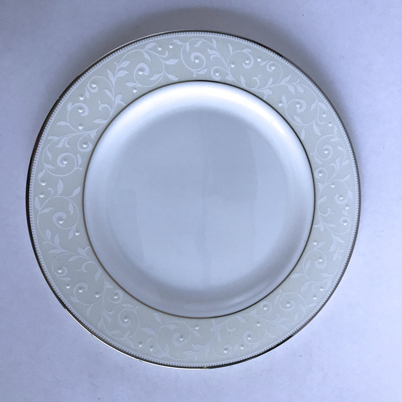 Lenox China Opal Innocence Salad Plate White Dots Leaves Platinum Trim