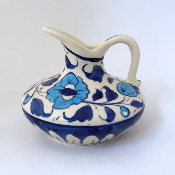 Multani Hand Painted Small Pottery Pitcher Blue and White Flowers Floral Design